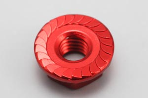ZC-N4FR Aluminum Flanged Nut (Red-4pcs)