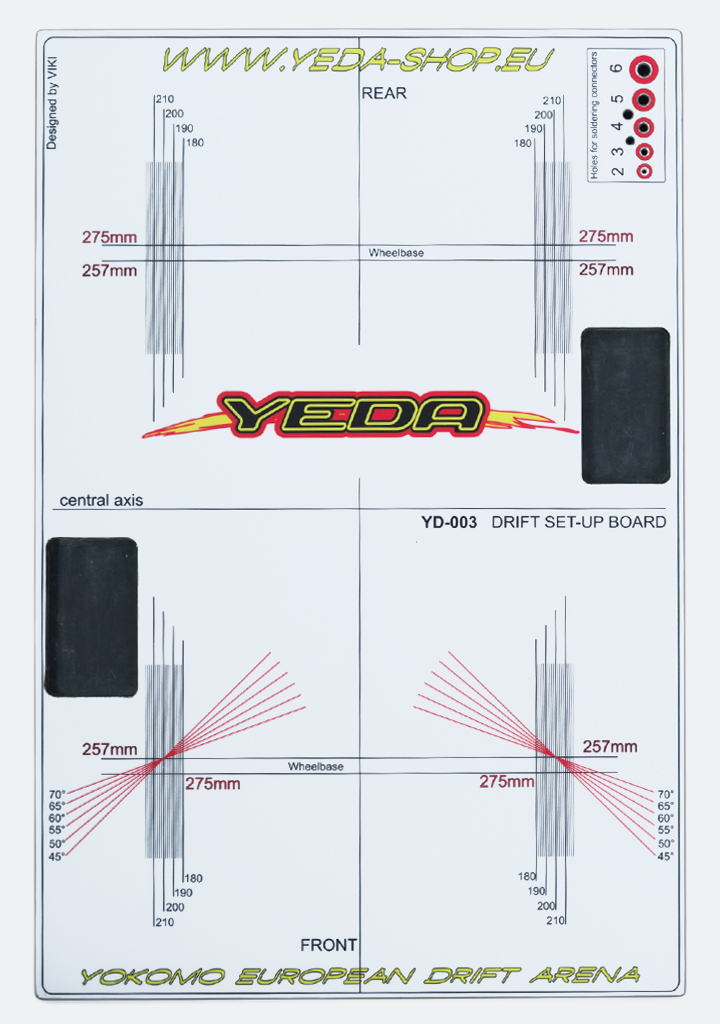 YEDA Set-up board for 1/10 Drift Cars (HPL , white/black)