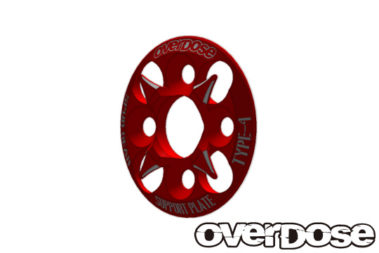 OVERDOSE OD1656 Spur Gear Support Plate Type-4 (Red)
