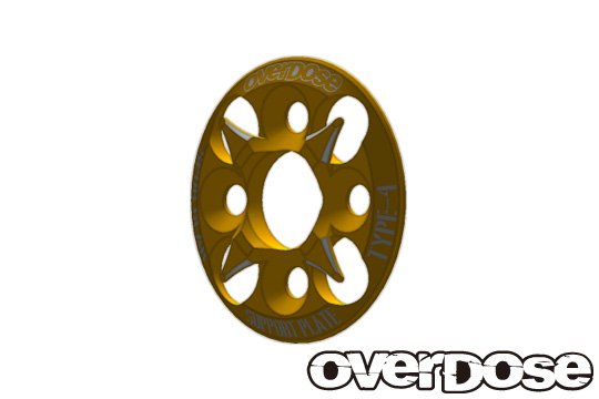 OVERDOSE OD1657 Spur Gear Support Plate Type-4 (Gold)