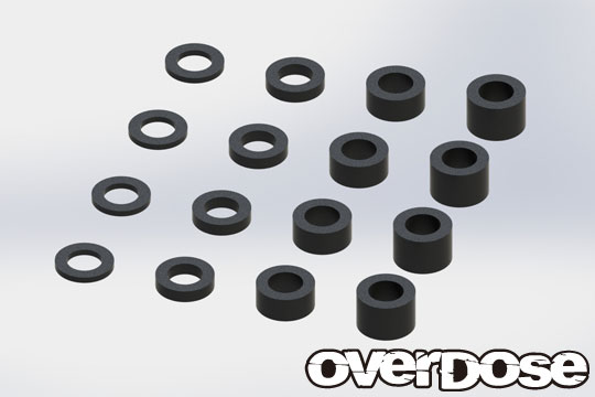 OVERDOSE OD2494 φ2.6 Aluminum Spacer Set (0.5, 1.0, 2.0, 3.0/Black/4 pcs each)