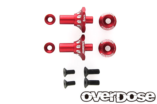 OVERDOSE OD2717 Aluminum One Piece Axle Shaft 6mm(For OD/RWD Front/Red)