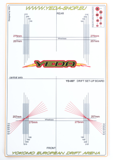 YEDA Set-up board for 1/10 Drift Cars (LPB , white/orange)