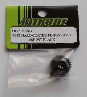 7075 HARD COATED PINION GEAR 48P 28T BLACK