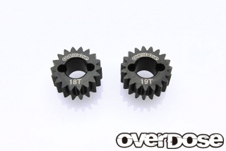 OVERDOSE Counter Gear Super Low Gear Set (18T-19T/ For GALM Gear Drive Set, XEX)